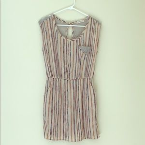Stripped pattern dress with lace back